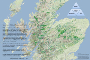 Text and images that depict the 35 remaining Caledonian Forest patches in Scotland, with a transparent overlay that show the potential range of the forest.